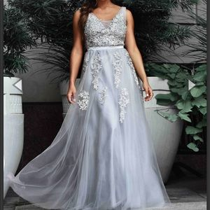 NWT Silver A Line Evening Gown